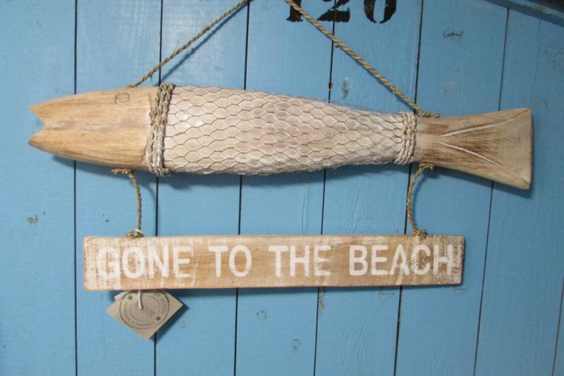 Vis, met tekstbordje gone to the beach