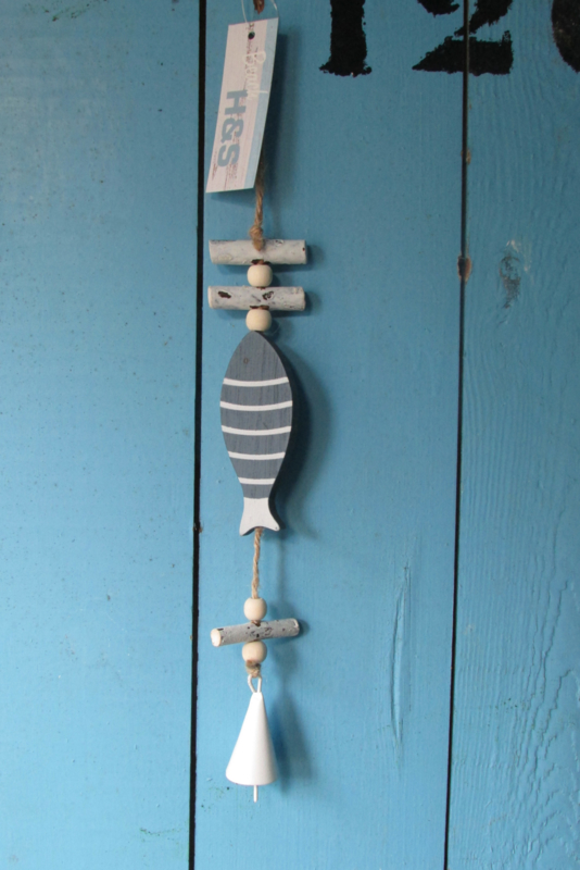Vis met bel decoratie,  35 cm  blauw