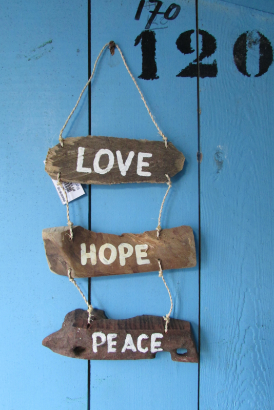 Drijfhout decoratie, Love Hope Peace
