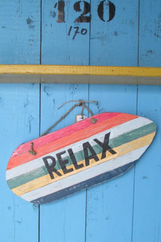 Relax, tekst op surfplank 38 cm