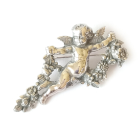 Zilveren broche engel - cherubijn zilver