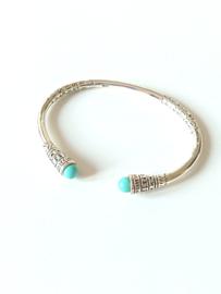 Zilveren klem armband meisje turkoois, meisjesarmband