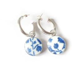 Creolen zilver Ming Jewelry - Oorringen met porseleinen Ming hangers