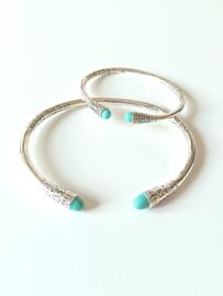 Zilveren armband set voor moeder en dochter turkoois