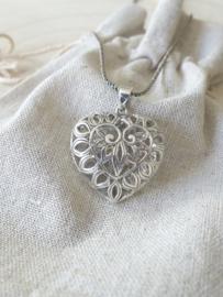 Zilver 925 hart hanger, opengewerkt