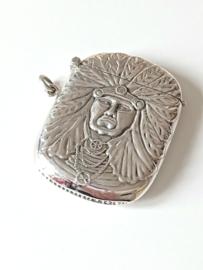 Zilver 925 Tondeldoos indiaan, hanger, gedenksieraad