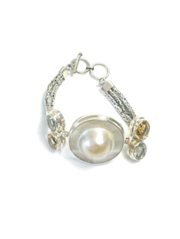 Armband zilver, barokparel en edelstenen