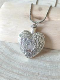 Zilver 925 hart hanger, gedenksieraad, parfumflesje.