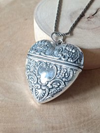 Zilver 925 hanger,  gedenksieraad, groot hart, zilveren hart.