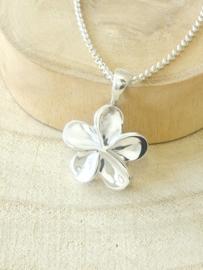 Ashanger bloem zilver, klaverblad zilver