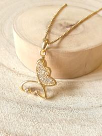 Ashanger vlinder goldplated
