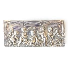 Zilveren broche engelen
