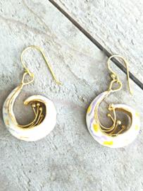 Oorbellen zilver met goud en parelmoer