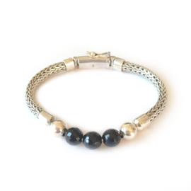 Armband zilver Best to Buddha, onyx beads stoere armband