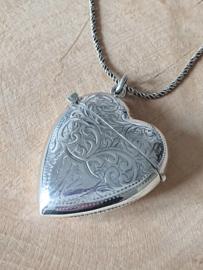 Zilver 925 tondeldoos hart, gedenksieraad, hart hanger