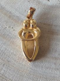 Assieraad sterling zilver 925 met goud, dubbele askamer, liefde, ashanger, gedenksieraad