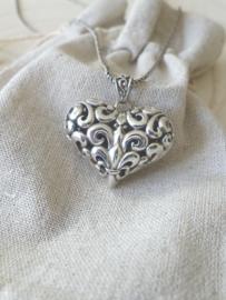 Zilver 925 Hart hanger , Franse lelie