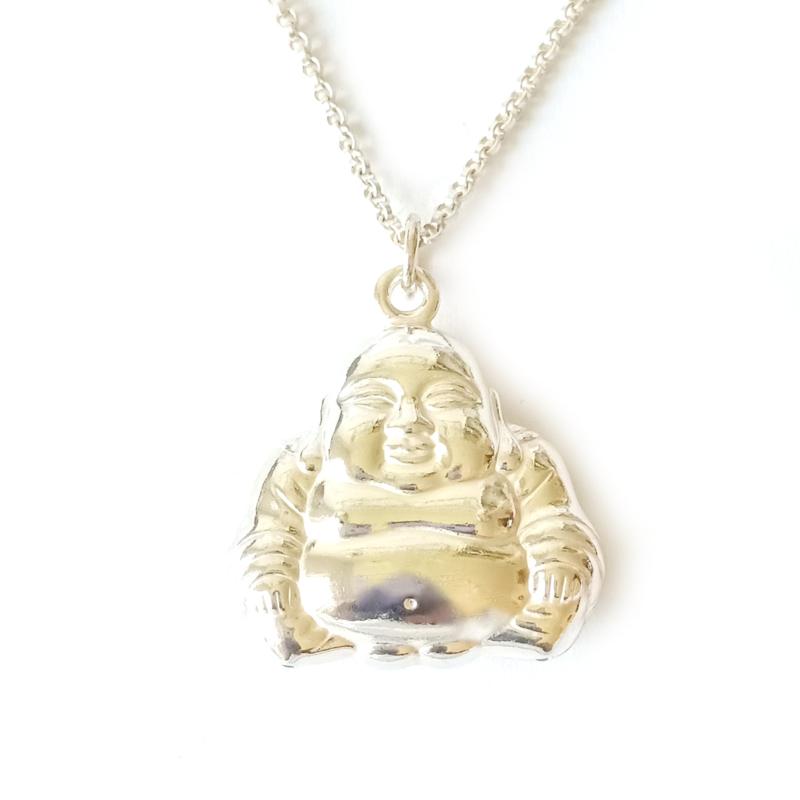 Buddha bedel zilver - zilveren Boeddha hanger 3D