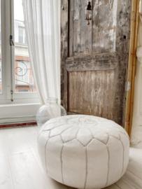 Leather Pouf White