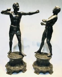 2 boxing men Antique zamac statue sculpture skulptur signed L. Piedboeuf 19th C.