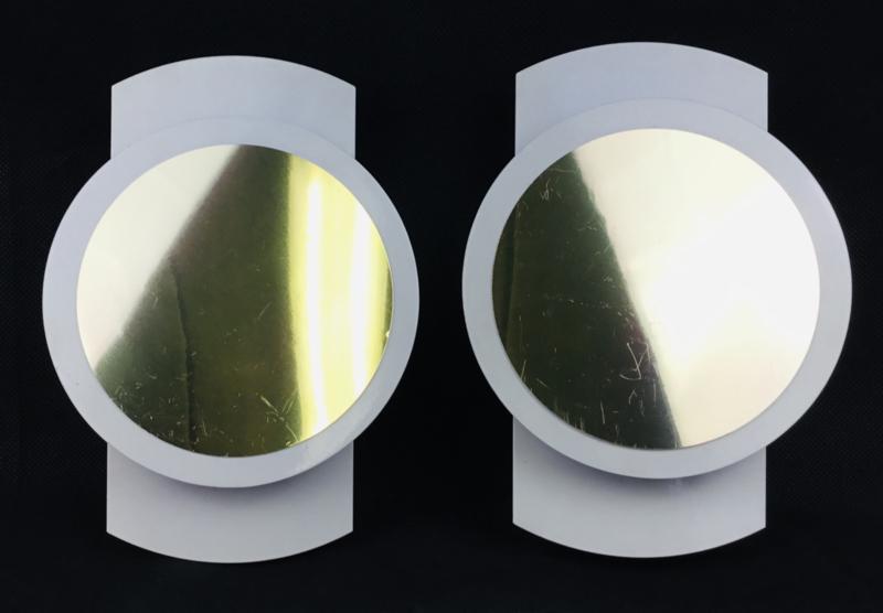 Pair of vintage design metal wall scones Lights lamps 1980's