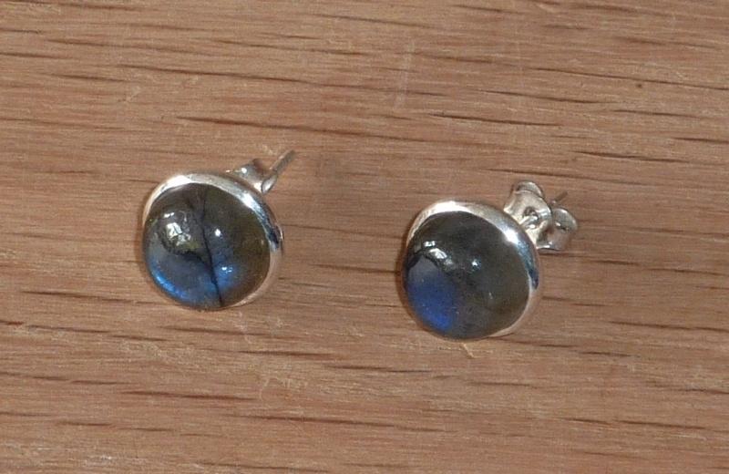 Labradoriet oorbellen met zilver