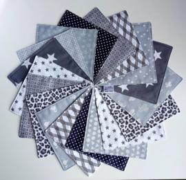 Set wasbare billendoekjes / snoetenpoetsers (7 stuks gemixt grijstinten)