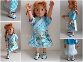 Blauw/turquoise jurk incl. paar schoentjes