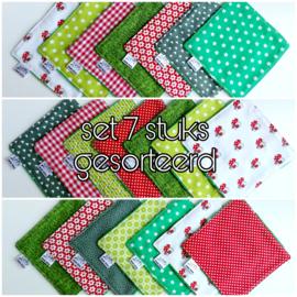 Set wasbare billendoekjes / snoetenpoetsers (7 stuks gemixt groen/rood)