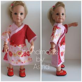 Roze/rode jurk incl. paar schoentjes