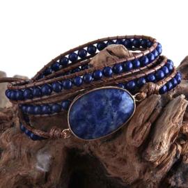 Edelstenen wikkelarmband Wrap Lapis Lazuli 3 Rows