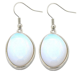 Edelstenen oorbellen Sea Opal Oval Two
