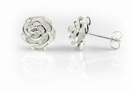 Verzilverde oorbellen Silver Flower