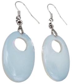 Edelstenen oorbellen Sea Opal Oval