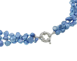 Zoetwater parelketting Azure Blue Pearl