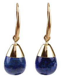 Edelstenen oorbellen Gold Dip Lapis Lazuli
