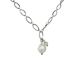 Zoetwater parelketting Flow Oval Silver Pearl