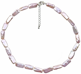 Zoetwater parelketting Pearl Rectangle Pink