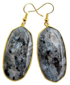 Edelstenen oorbellen Big Black Labradorite Gold