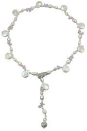 Zoetwater parelketting met edelsteen White Coin White Amethyst