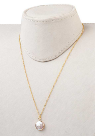 Zoetwater parelketting White Coin Pearl Gold Small