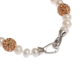 Zoetwater parel armband Bling Rose Golden Pearl