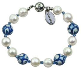 Zoetwater parel armband Hollands Glorie Round Flower White