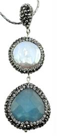 Zoetwater parelketting met edelsteen Bright Pearl Blue Jade