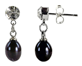 Zoetwater parel oorbellen Big Crystal Pearl Black