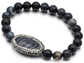 Edelstenen armband Bling Oval Black Striped Agate