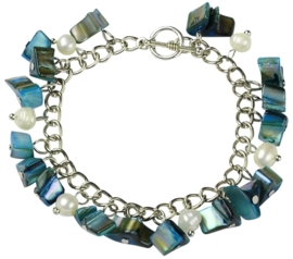 Zoetwaterparel en parelmoeren armband Pearl Petrol Shell Chip