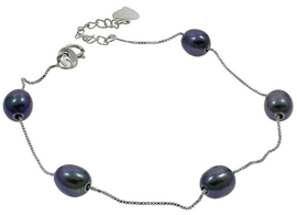 Zoetwater parel armband Pearl Chain Black