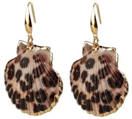 Schelpen oorbellen Gold Sea Shell Panther