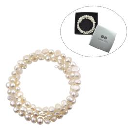 Cadeau set zoetwater parel armband Zen White
